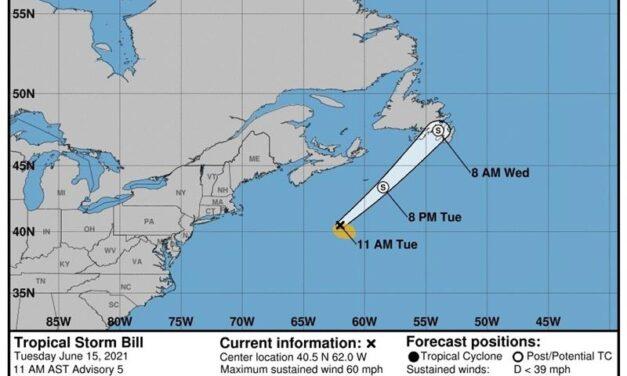 Se forma Bill, la segunda tormenta tropical del Atlántico